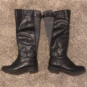 Black Lelah knee high Knit Boots